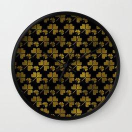 Irish Shamrock clover  pattern Wall Clock