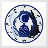airbender Art Prints featuring Avatar The Last Airbender Water Clock Face by Art of Sara