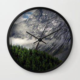 Remnants of Morning Fog in Canadian Rockies Wall Clock