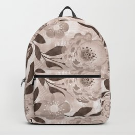Floral pattern in beige and brown tones. Backpack