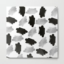 Black faux silver modern abstract brushstrokes Metal Print