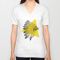 headdress V-neck T-shirts featuring headdress by morgan kendall