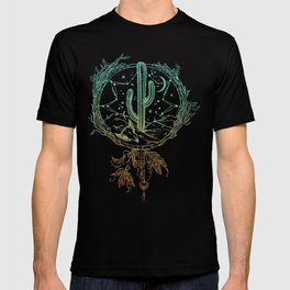 Desert Cactus Dreamcatcher Turquoise Coral Gradient on White T-shirt