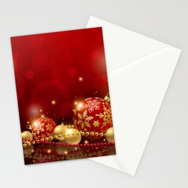 Holiday Christmas Christmas Ornaments Red Sparkles Stationery Cards