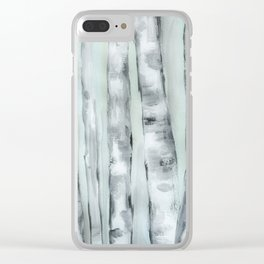 Birch trees in winter Clear iPhone Case