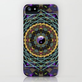 Purple Yin Yang Sacred Geometry Fractals iPhone Case