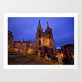 Night view of Burgos Cathedral in Spain. Art Print
