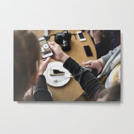 Photographing food on a smartphone Metal Print