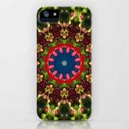 Red blossoms, Floral mandala-style iPhone Case