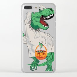 T-Rex Trick or Treat in Ghost Costume Clear iPhone Case