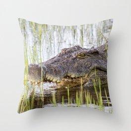 safari crocodile Throw Pillow
