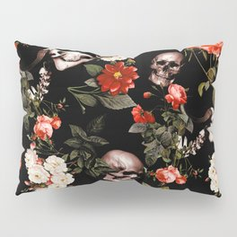 Floral and Skull Dark Pattern Pillow Sham