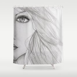 Emma Stone Drawing Shower Curtain