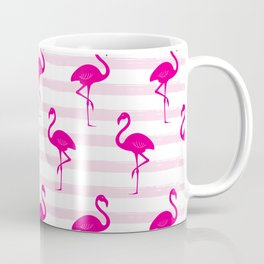 Flamingo & Stripes Pattern - Pink / Pink Coffee Mug