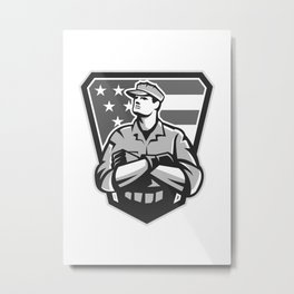 American Soldier Arms Folded Flag Grayscale Metal Print