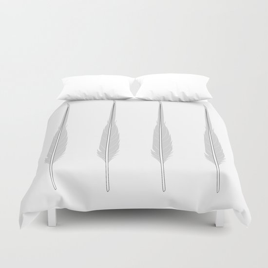 Grey Little Feather Duvet Cover