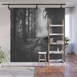 Magical Washington Rainforest Black and White Wall Mural