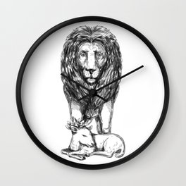 Lion Guarding Lamb Tattoo Wall Clock