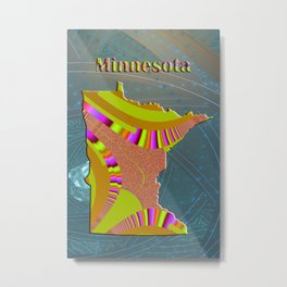 Minnesota Map Metal Print