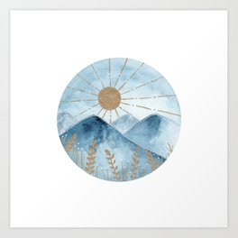 Indigo & gold landscape 2 Art Print