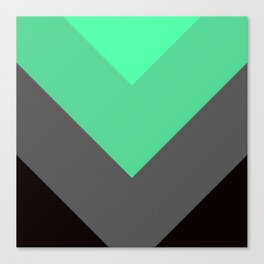 Mint Green Gray Chevron Stripes Canvas Print