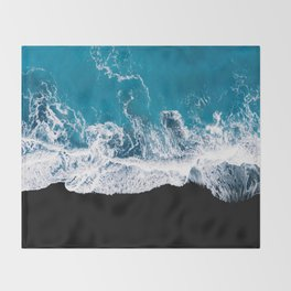 Black sand beach with waves and blue Ocean in Iceland – Minimal Photography Throw Blanket