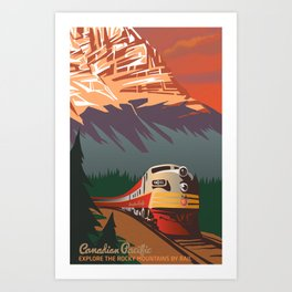RETRO TRAIN TRAVEL POSTER Art Print