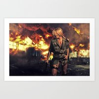 military Art Prints featuring Military woman  by netfalls