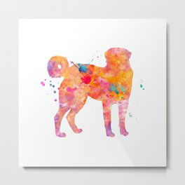 Akbash Dog Watercolor Orange Pink Abstract Metal Print
