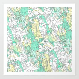 Space Toons in Pastel Greens and Yellow Art Print