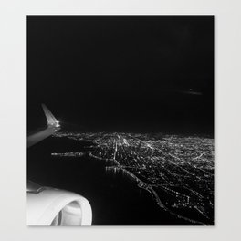 Chicago Skyline. Airplane. View From Plane. Chicago Nighttime. City Skyline. Jodilynpaintings Canvas Print