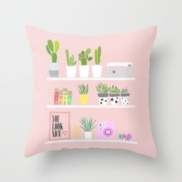 Cactus shelfie pink Throw Pillow