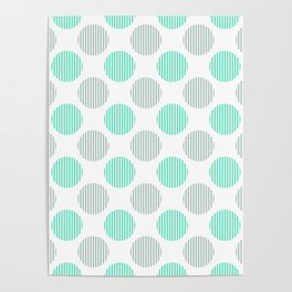 Menthol green, gray and white striped texture polka dots pattern Poster