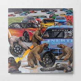 Sloth Pit Crew Auto Racing Man Cave Metal Print