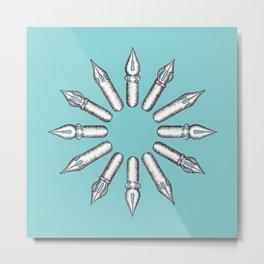 Dip Pen Nibs Circle (Lake Blue and White) Metal Print