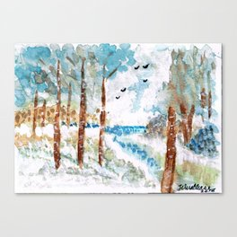 Birch Winter River Canvas Print