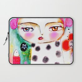 Dream a bit...every day! pink hair girl fish flowers Laptop Sleeve