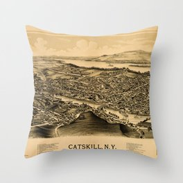Map Of Catskill 1889 Throw Pillow