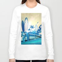 surfboard Long Sleeve T-shirts featuring surfboard  background on sky background by Doomko