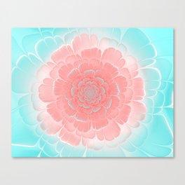 Romantic aqua and pink flower, digital abstracts Canvas Print