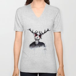 Antlers // Fashion Illustration Unisex V-Neck
