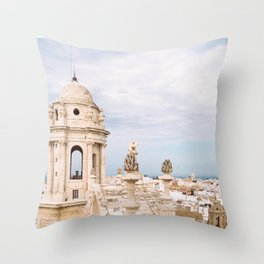 Cadiz, Spain City Skyline View from Cathedral Throw Pillow