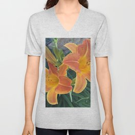 Garden Blooms - Orange Unisex V-Neck
