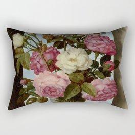 "Ambrosius Bosschaert the Elde ""Still Life with Roses in a Glass Vase"" Rectangular Pillow"