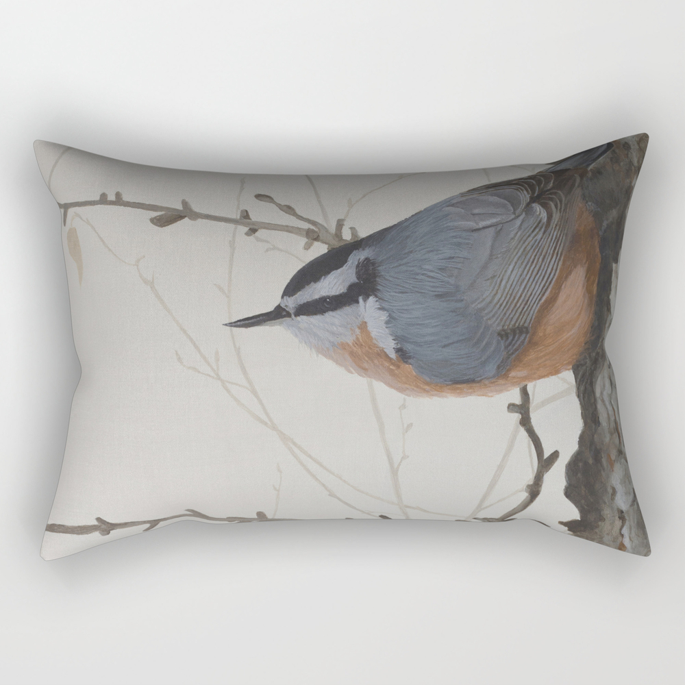 Red-Breasted Nuthatch At Yellowknife River Rectangular Pillow by shawnalampilegaree (RPW11900146) photo