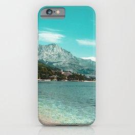 Teal Ocean Beach   Caribbean Clear Beaches Water Waves in Europe Mountain Landscape Beautiful Sky iPhone Case