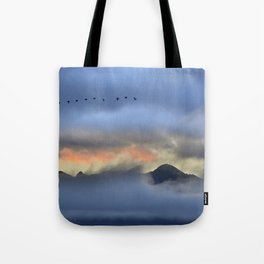 """""""Sunrise at the mountains"""". Birds in the morning. Tote Bag"""