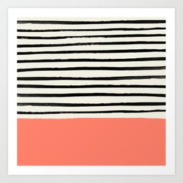 Coral x Stripes Art Print