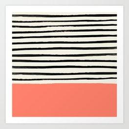 Coral x Stripes Art Print