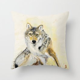 Totem Wolf: Gray wolf (c) 2017 Throw Pillow